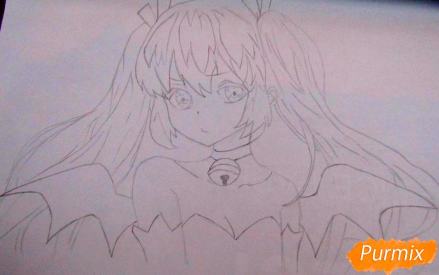 Рисуем и раскрасить аниме девушку-демона - шаг 4
