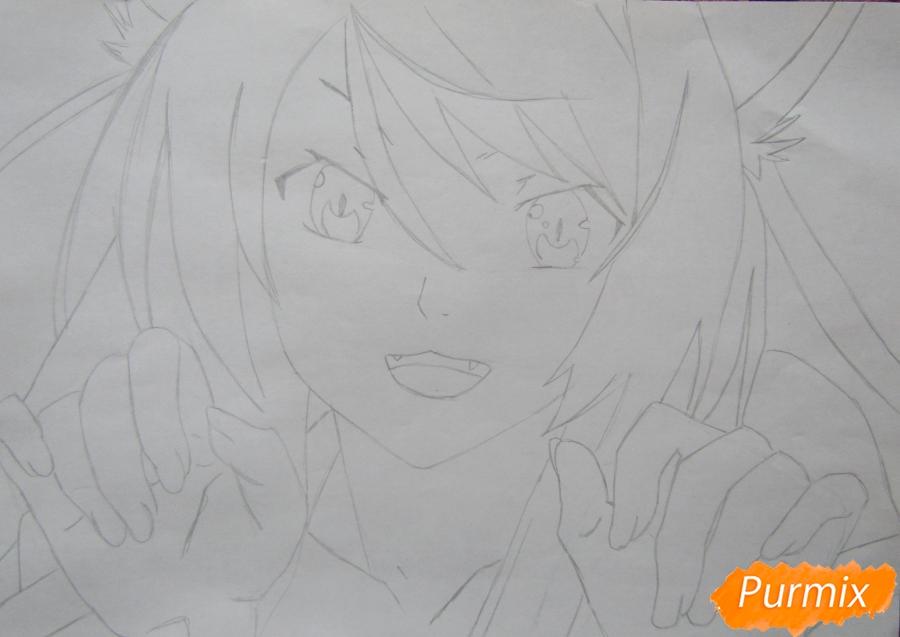 Рисуем аниме персонажа карандашами - шаг 4