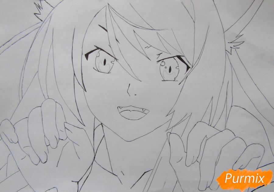 Рисуем аниме персонажа карандашами - шаг 5