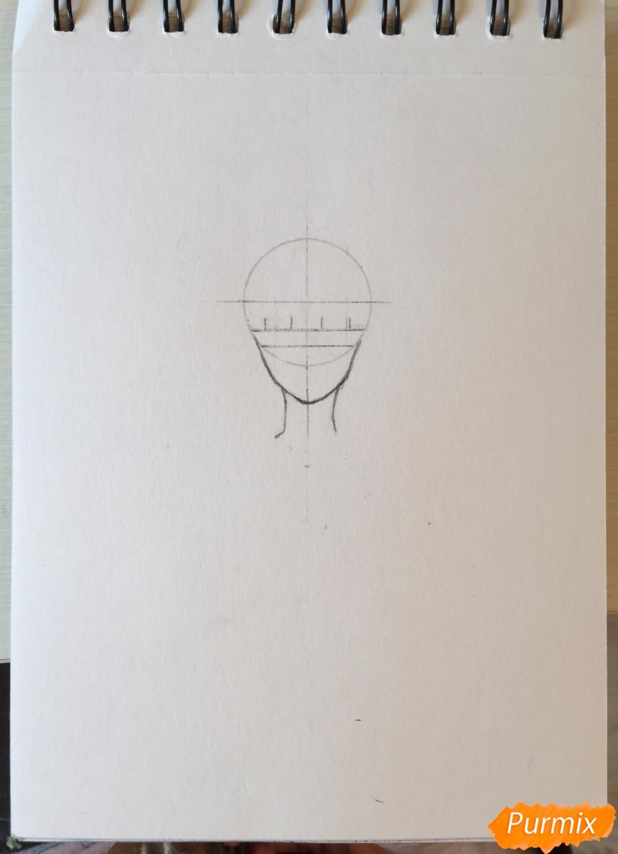 Рисуем и раскрасить девушку-кролика в наушниках карандашами - шаг 2