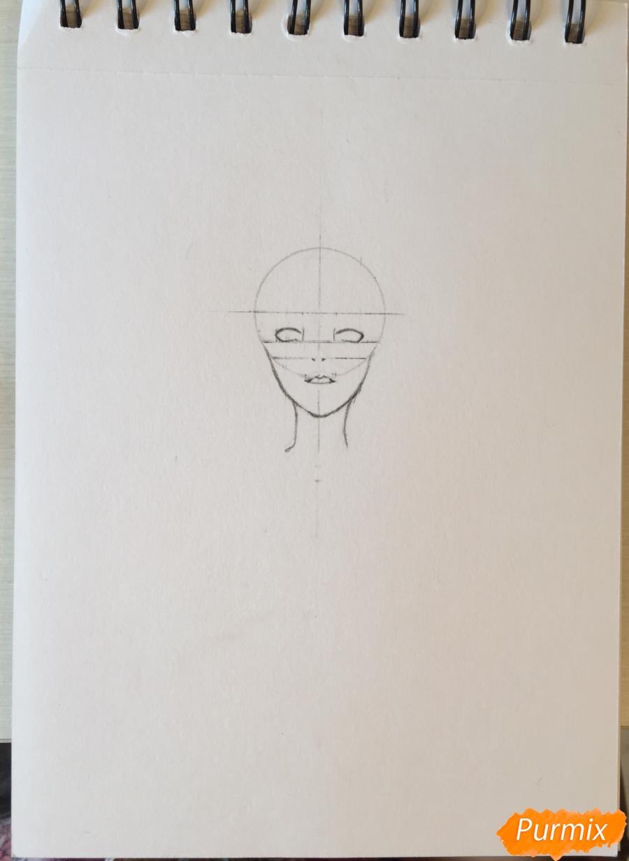 Рисуем и раскрасить девушку-кролика в наушниках карандашами - шаг 3