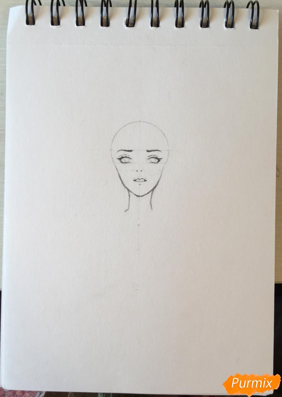 Рисуем и раскрасить девушку-кролика в наушниках карандашами - шаг 4