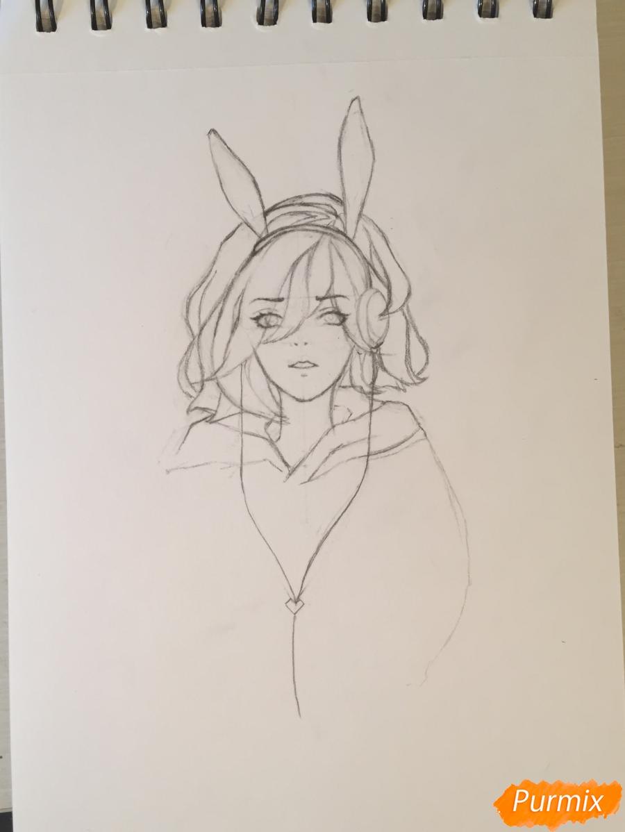 Рисуем и раскрасить девушку-кролика в наушниках карандашами - шаг 5