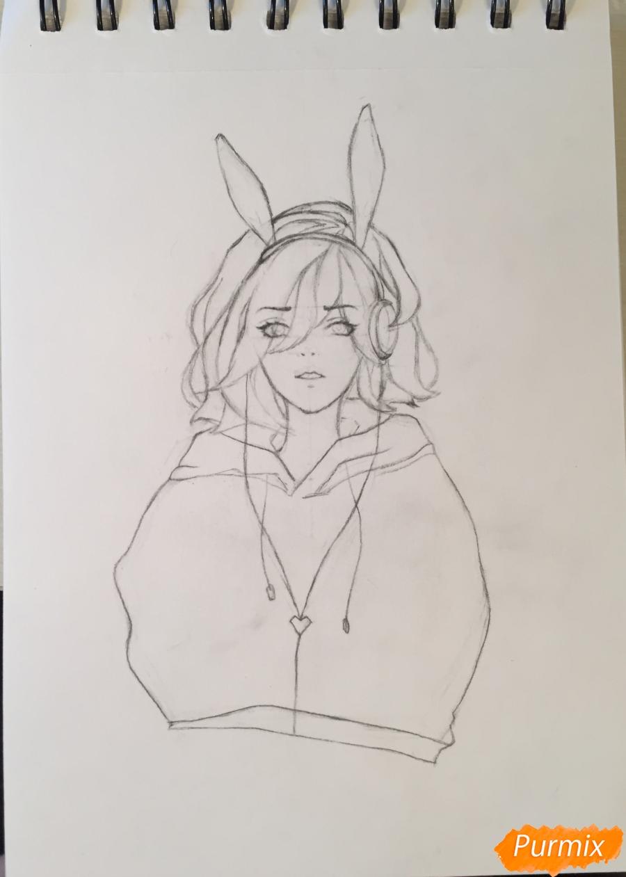 Рисуем и раскрасить девушку-кролика в наушниках карандашами - шаг 6