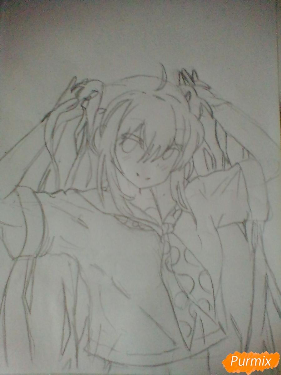 Рисуем Мику Хацунэ с хвостиками - шаг 4
