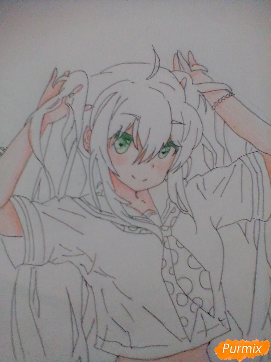 Рисуем Мику Хацунэ с хвостиками - шаг 7