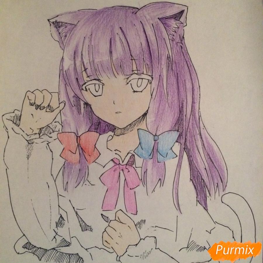 Поэтапно рисуем цветными карандашами милую неко девушку - шаг 11