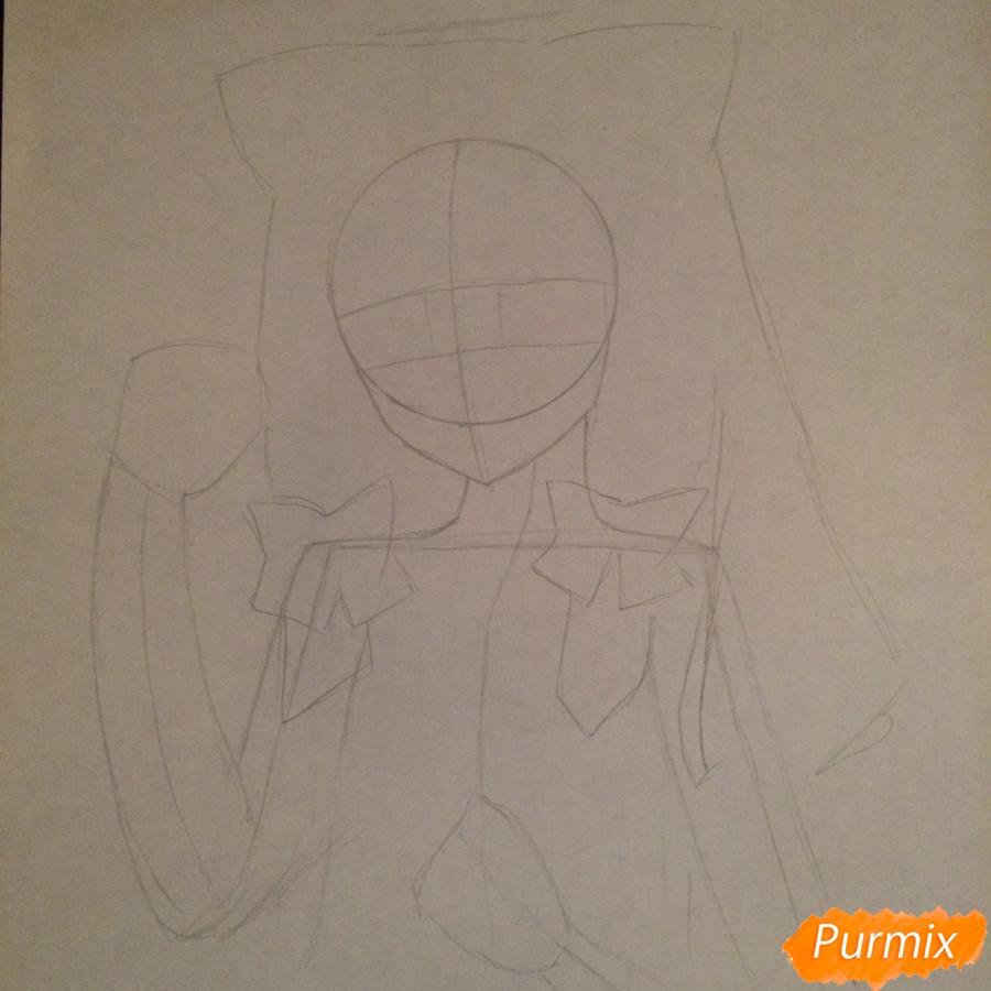 Поэтапно рисуем цветными карандашами милую неко девушку - шаг 4