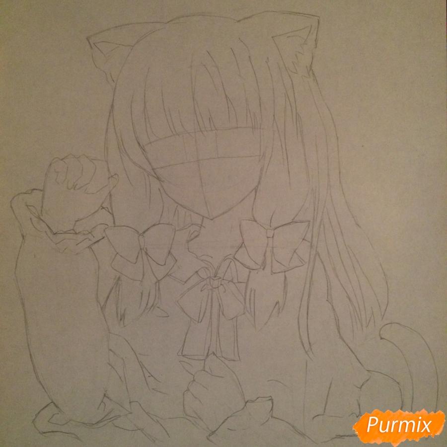 Поэтапно рисуем цветными карандашами милую неко девушку - шаг 7