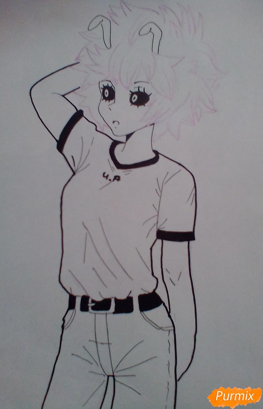 Мину Ашидо в футболке - шаг 9