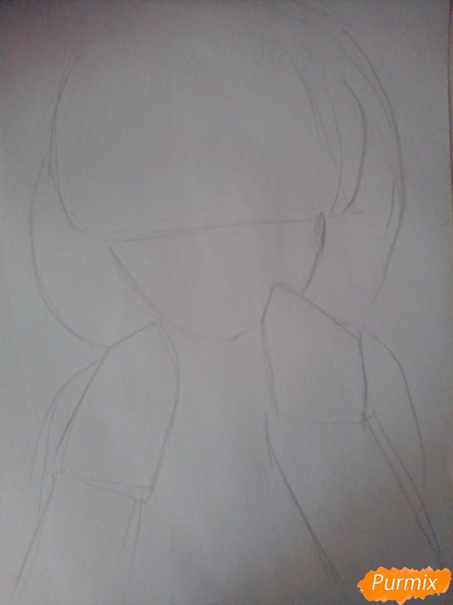 Рисуем и раскрасить Мирай Курияму - шаг 1