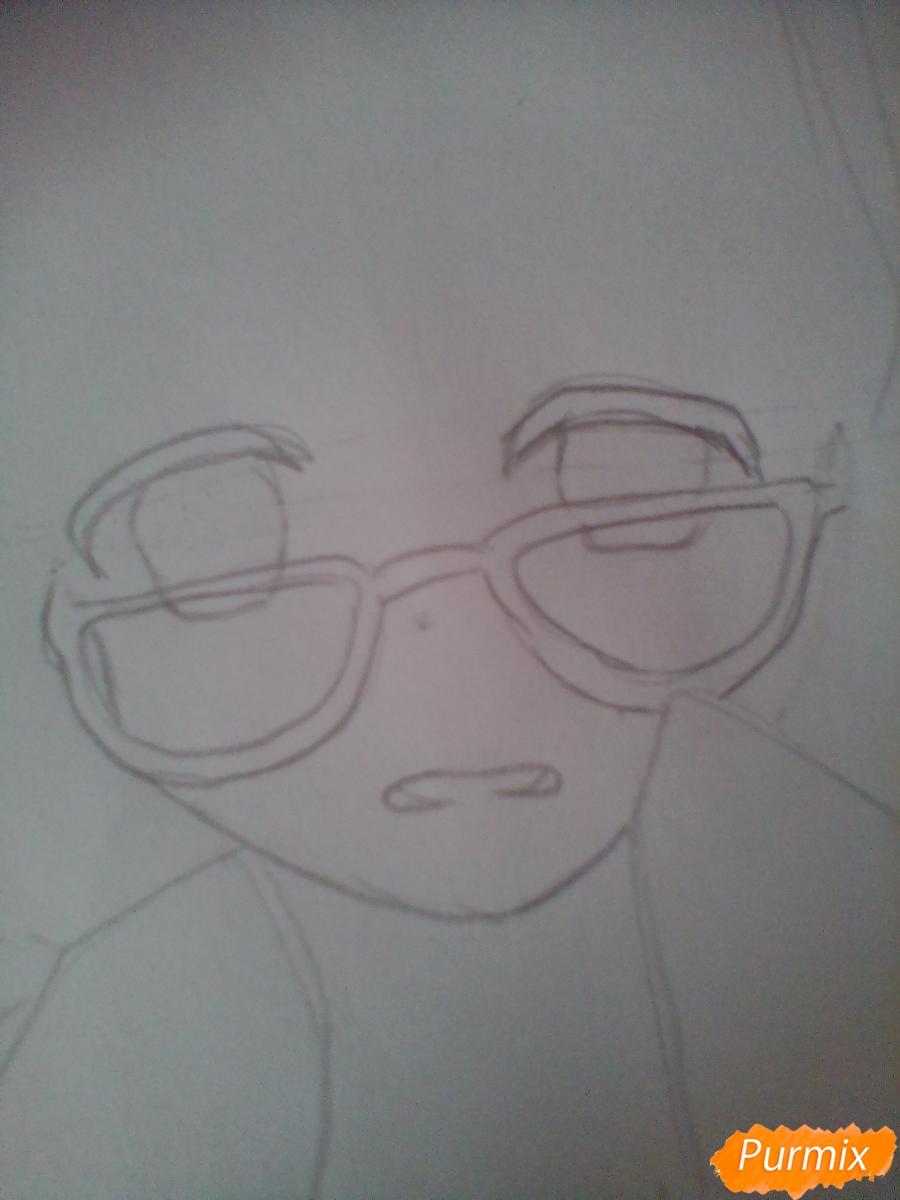 Рисуем и раскрасить Мирай Курияму - шаг 2