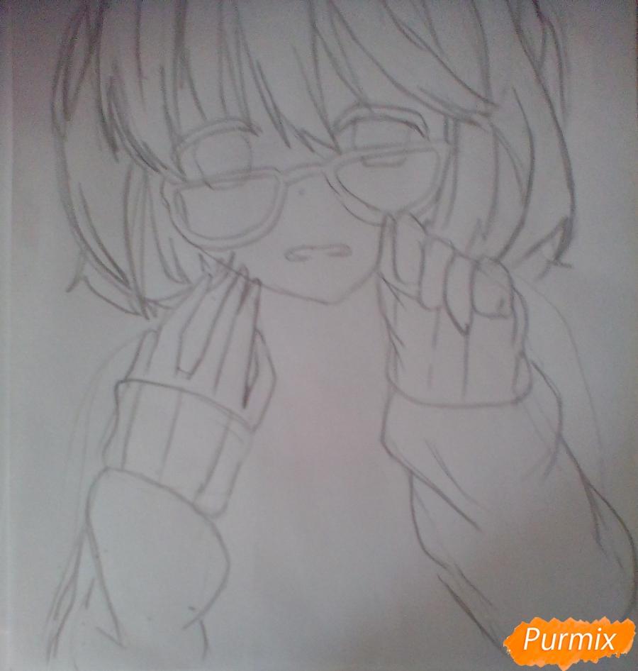 Рисуем и раскрасить Мирай Курияму - шаг 4