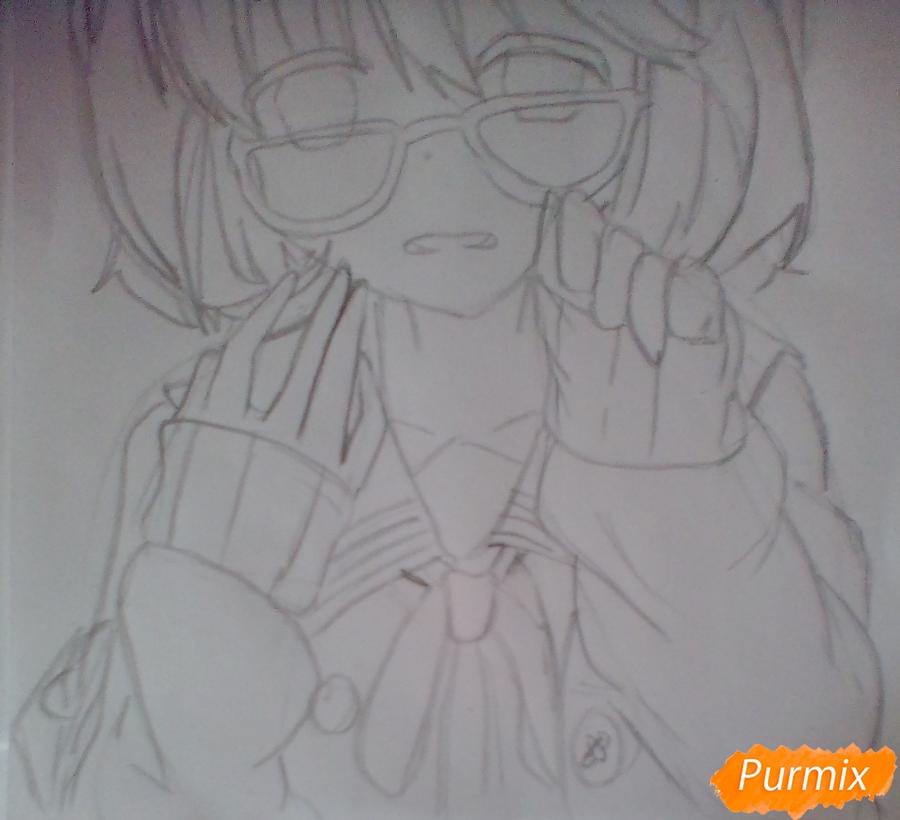 Рисуем и раскрасить Мирай Курияму - шаг 5