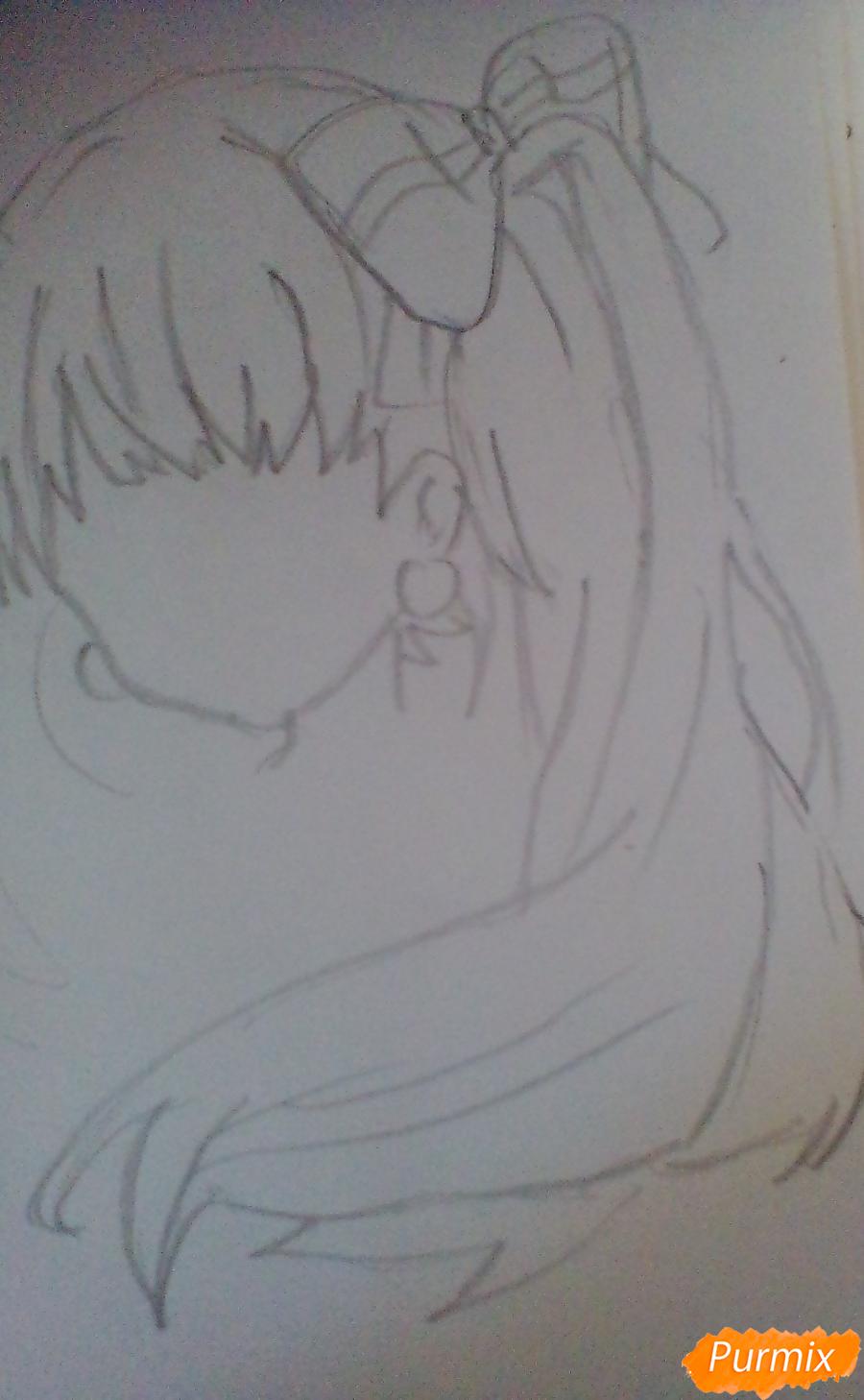 Рисуем и раскрасить портрет Хацунэ Мику - шаг 2