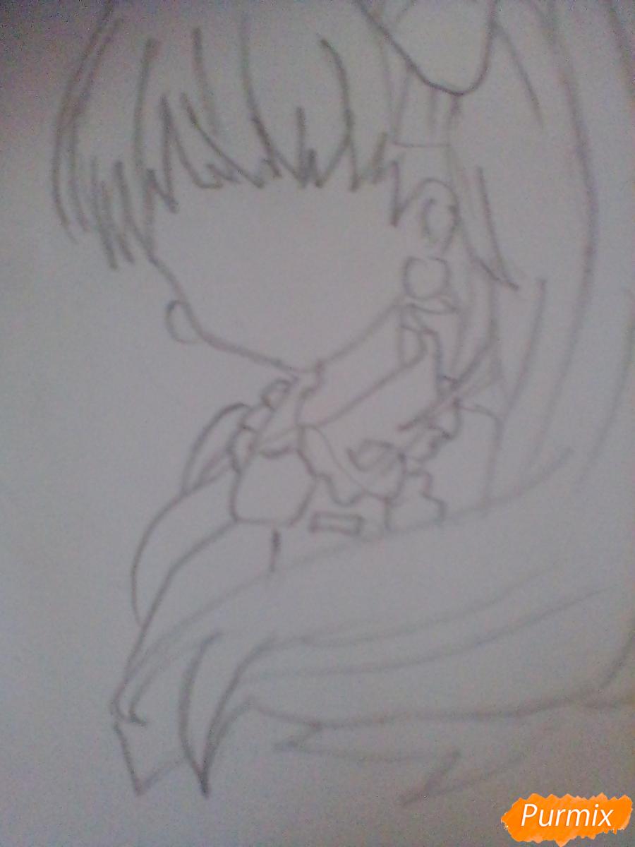 Рисуем и раскрасить портрет Хацунэ Мику - шаг 3