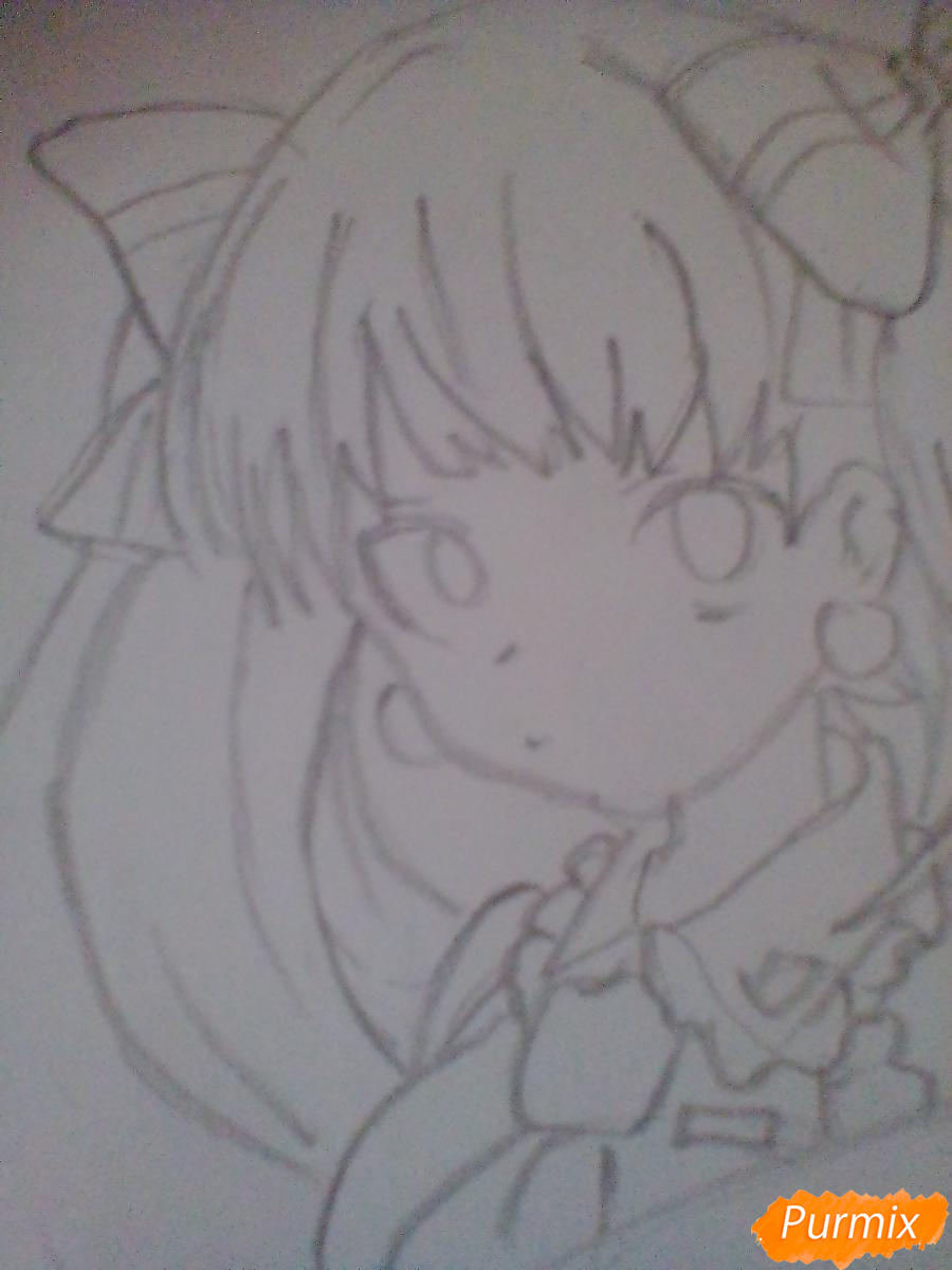 Рисуем и раскрасить портрет Хацунэ Мику - шаг 4