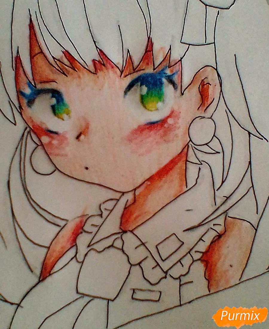 Рисуем и раскрасить портрет Хацунэ Мику - шаг 7