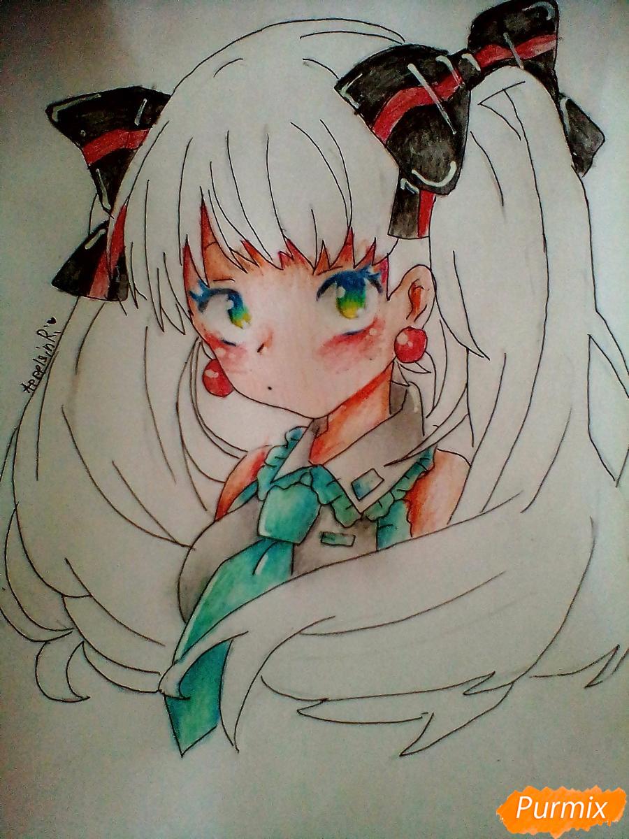 Рисуем и раскрасить портрет Хацунэ Мику - шаг 8