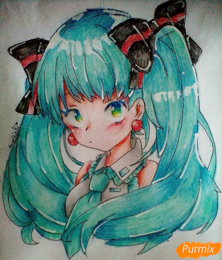 Рисуем и раскрасить портрет Хацунэ Мику - шаг 9