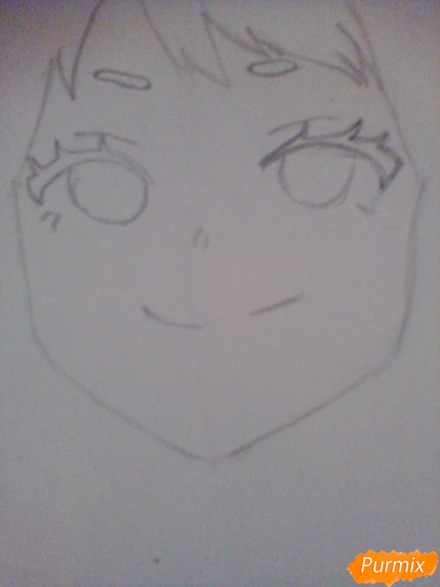 Рисуем портрет Очаки Урараки - шаг 4