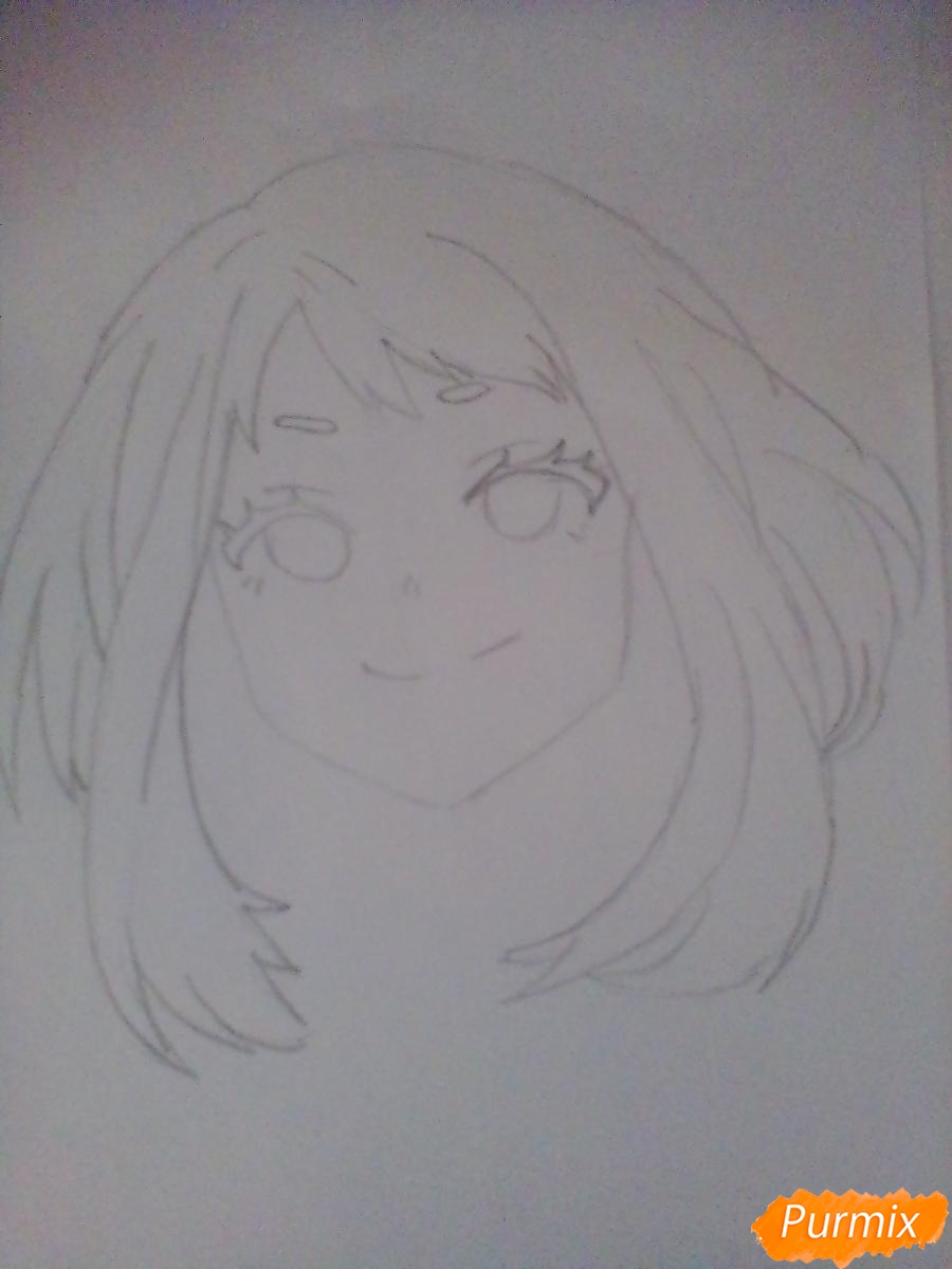 Рисуем портрет Очаки Урараки - шаг 5