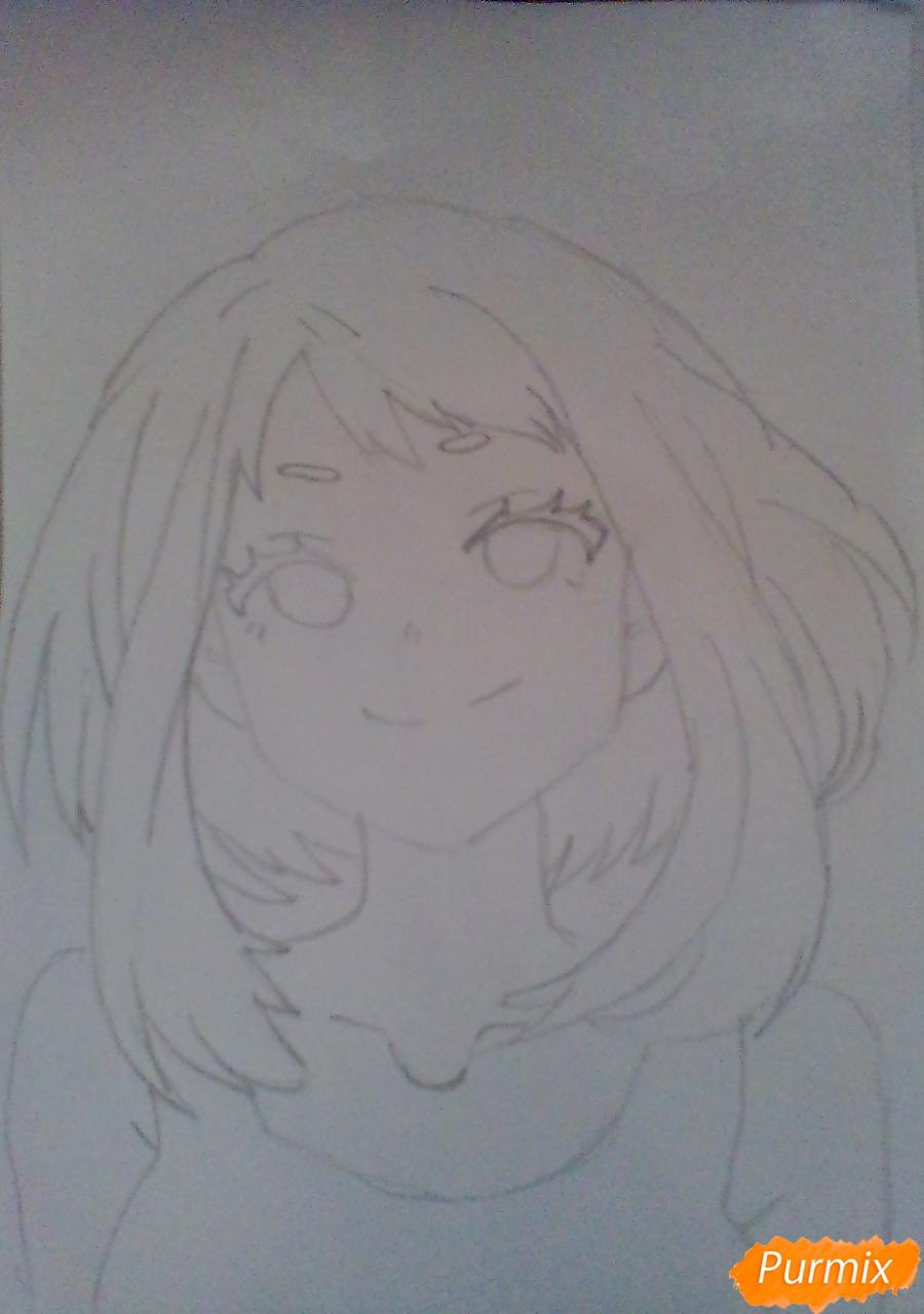 Рисуем портрет Очаки Урараки - шаг 7