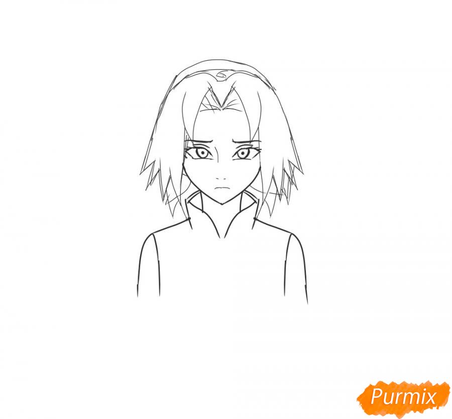 Рисуем и раскрасить Сакуру - шаг 5