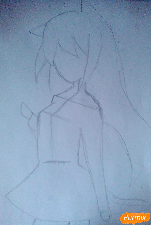 Рисуем и раскрасить Школьницу с книгой в стиле аниме - шаг 1