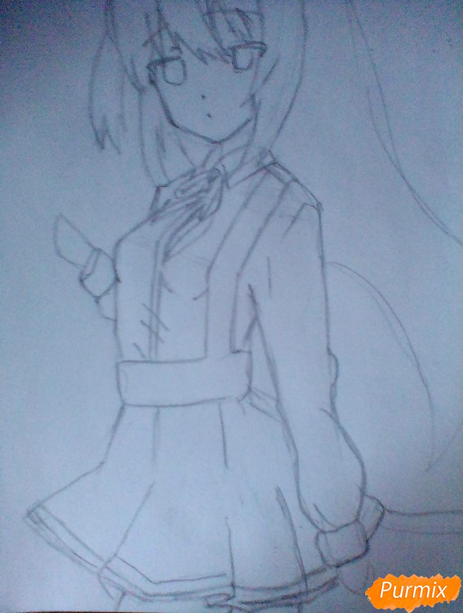 Рисуем и раскрасить Школьницу с книгой в стиле аниме - шаг 3