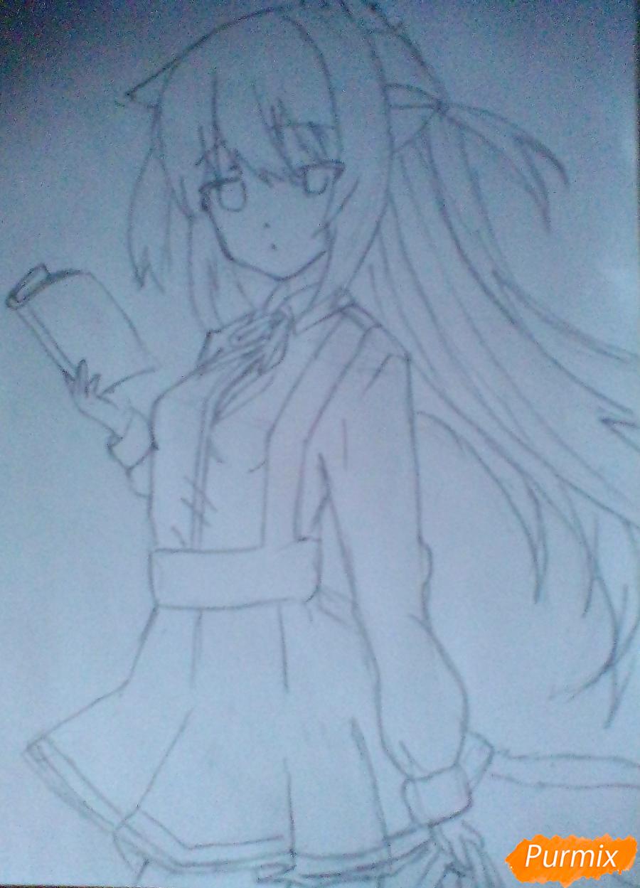 Рисуем и раскрасить Школьницу с книгой в стиле аниме - шаг 5