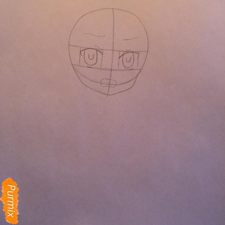 Рисуем и раскрасить стесняющуюся аниме девочку карандашами - шаг 2