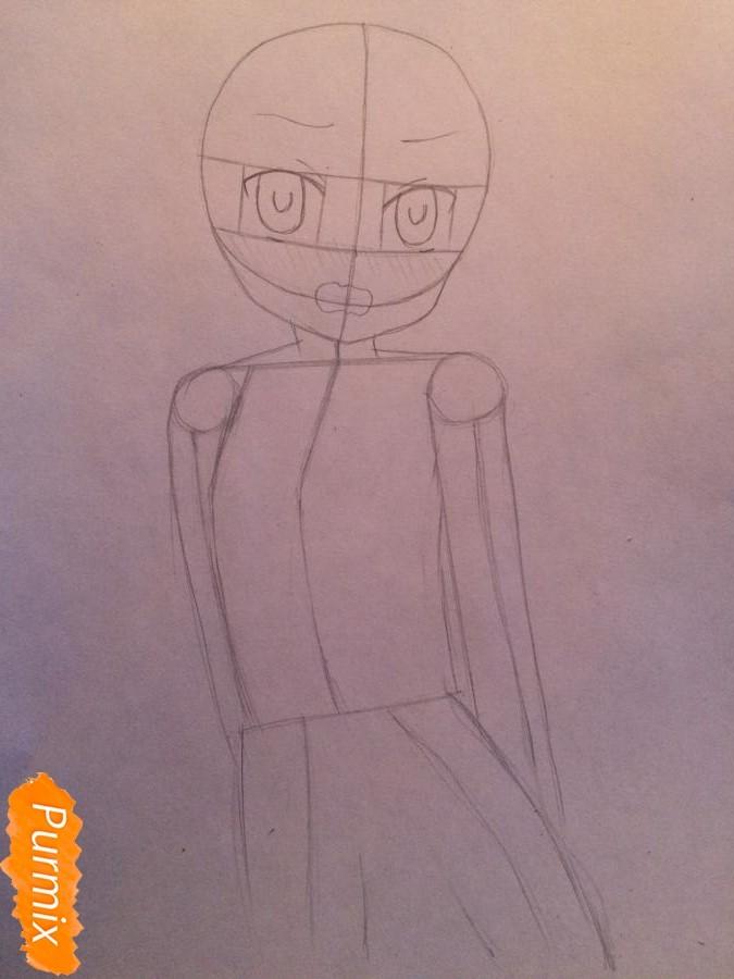 Рисуем и раскрасить стесняющуюся аниме девочку карандашами - шаг 3