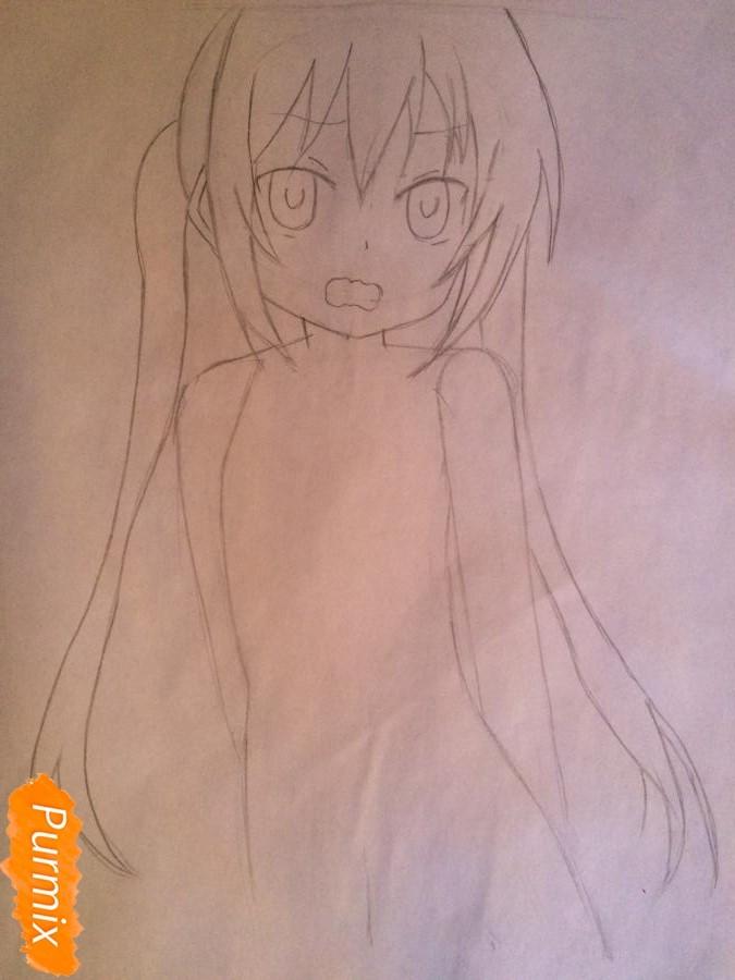 Рисуем и раскрасить стесняющуюся аниме девочку карандашами - шаг 4
