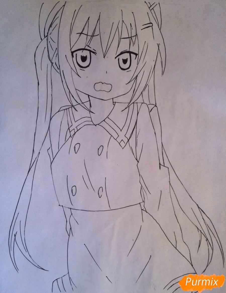 Рисуем и раскрасить стесняющуюся аниме девочку карандашами - шаг 6