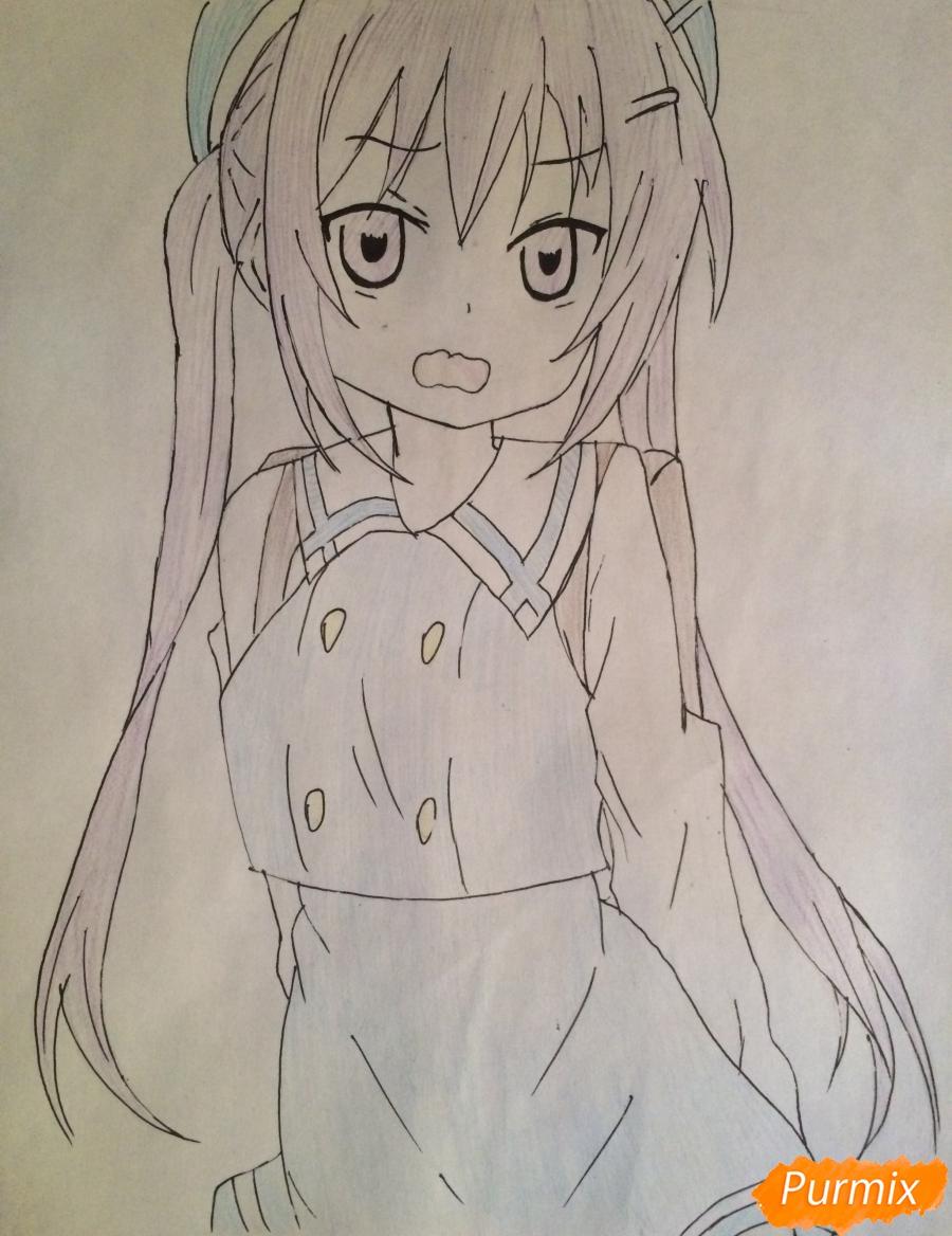 Рисуем и раскрасить стесняющуюся аниме девочку карандашами - шаг 7