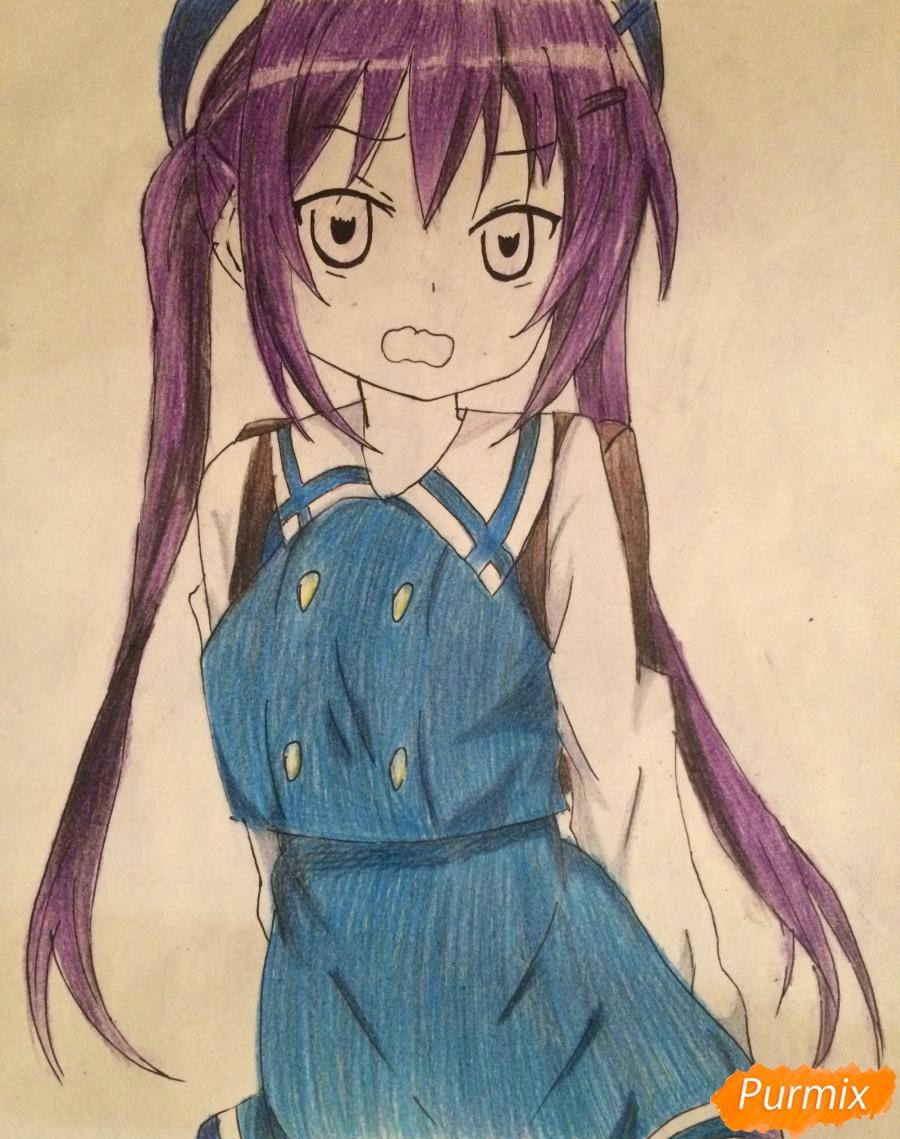 Рисуем и раскрасить стесняющуюся аниме девочку карандашами - шаг 9