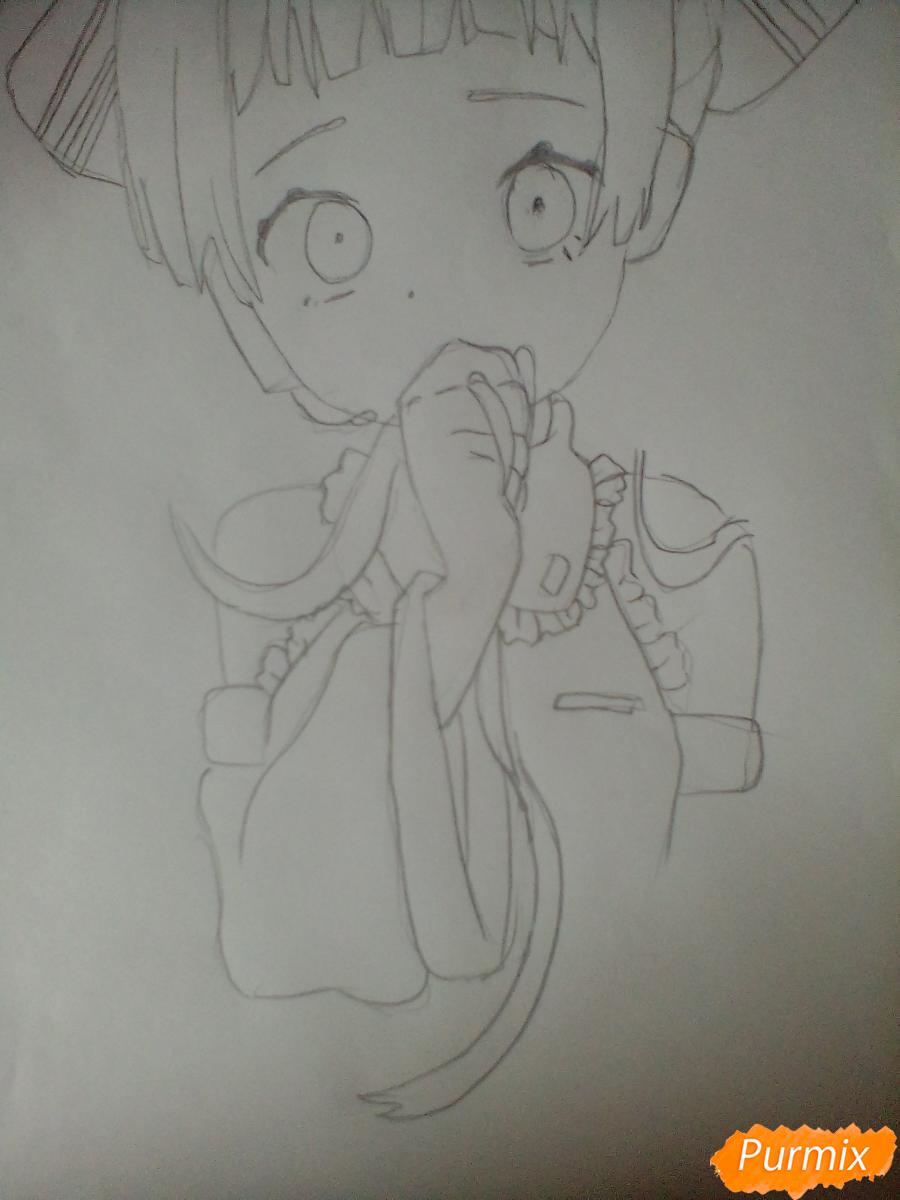 Рисуем и раскрасить Вокалоида Мику - шаг 4