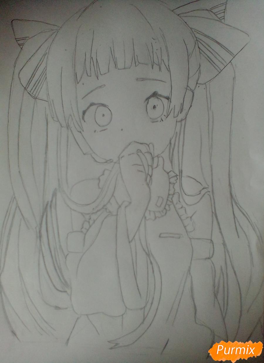 Рисуем и раскрасить Вокалоида Мику - шаг 5