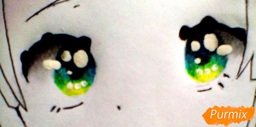 Рисуем и раскрасить Вокалоида Мику - шаг 6