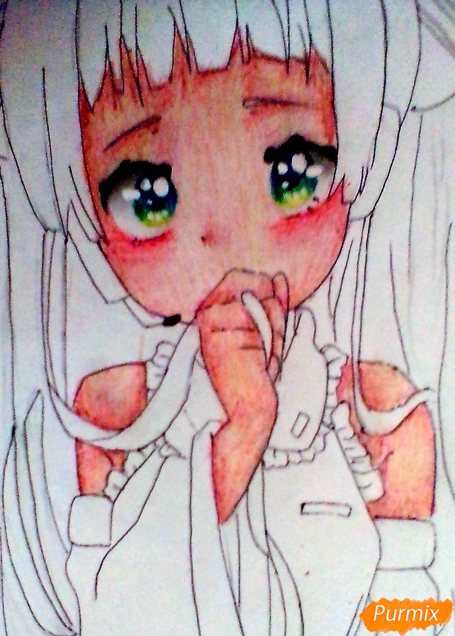 Рисуем и раскрасить Вокалоида Мику - шаг 7