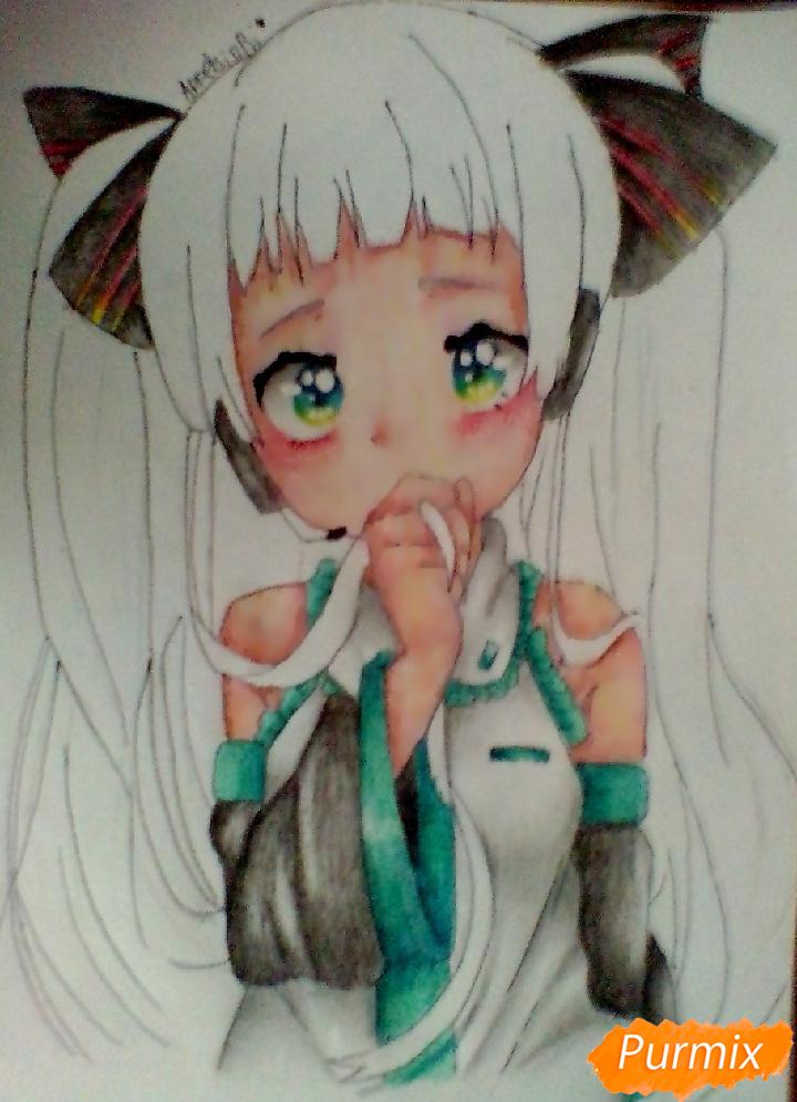 Рисуем и раскрасить Вокалоида Мику - шаг 8