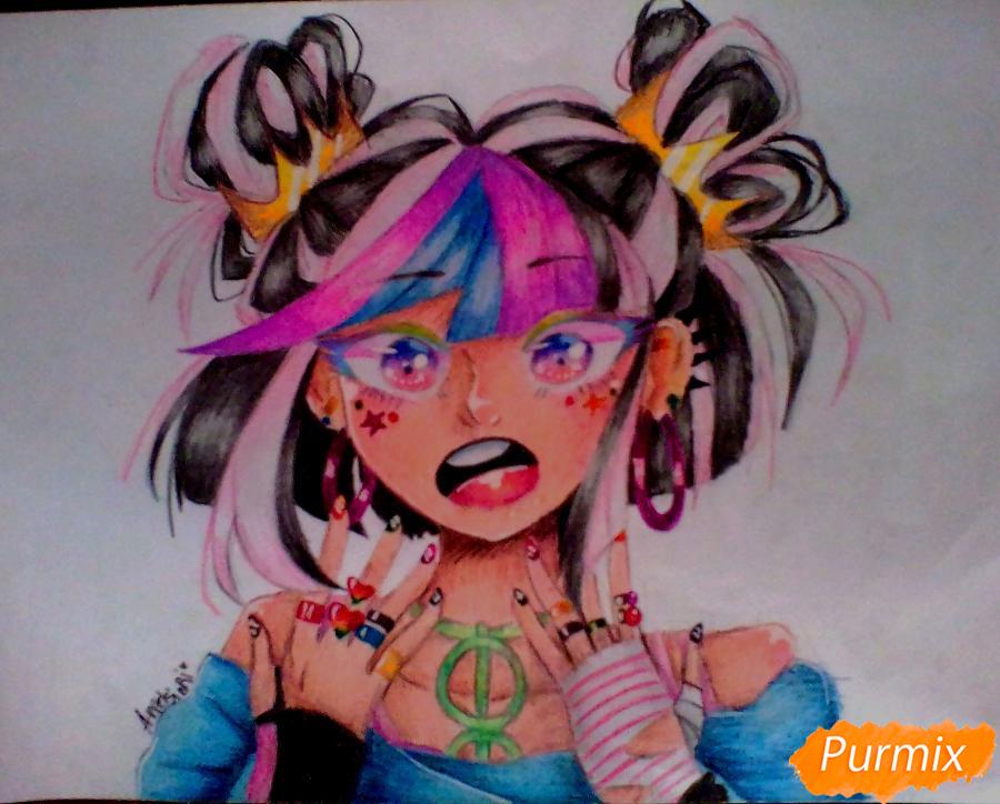 Как нарисовать Ибуки Миоду из аниме Школа Отчаяния карандашом