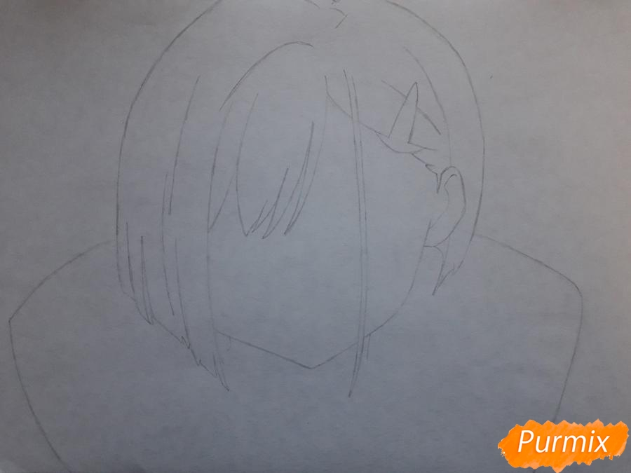 Рисуем Ичиго из аниме Милый во Франксе - шаг 2