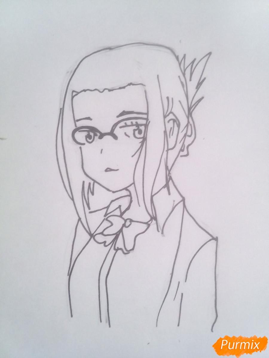 Рисуем Икуно из аниме Милый Во Франксе карандашами - шаг 5