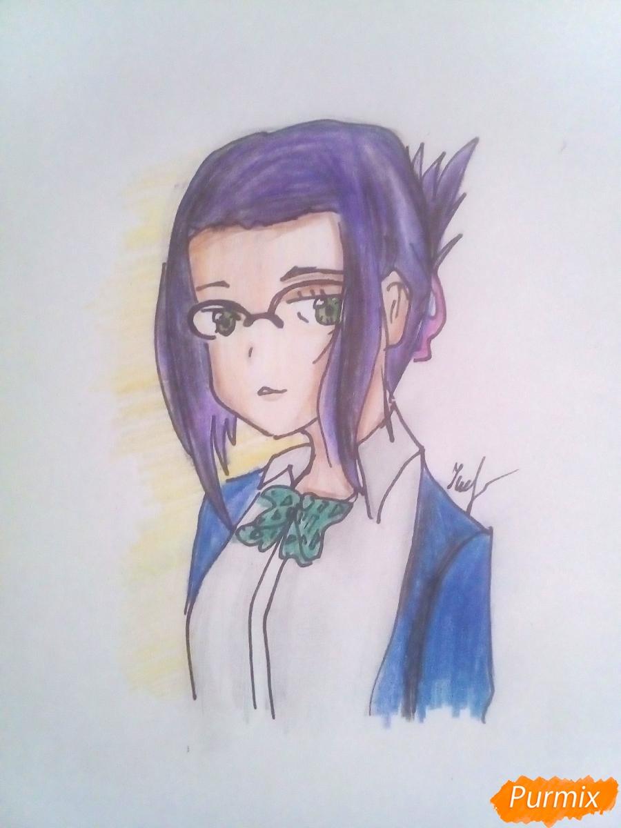 Рисуем Икуно из аниме Милый Во Франксе карандашами - шаг 6