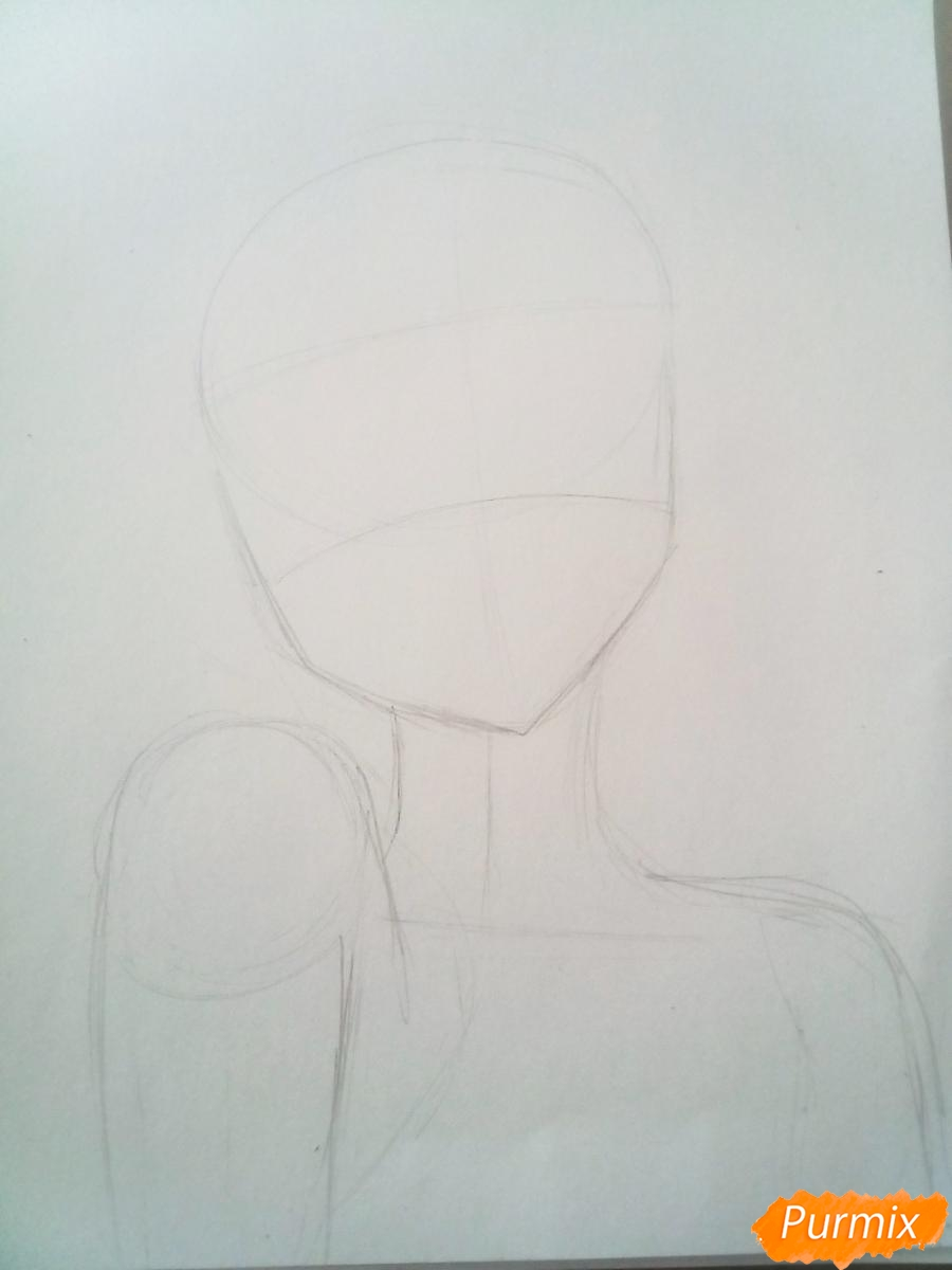 Рисуем портрет Инори Юдзуриха цветными карандашами - шаг 1