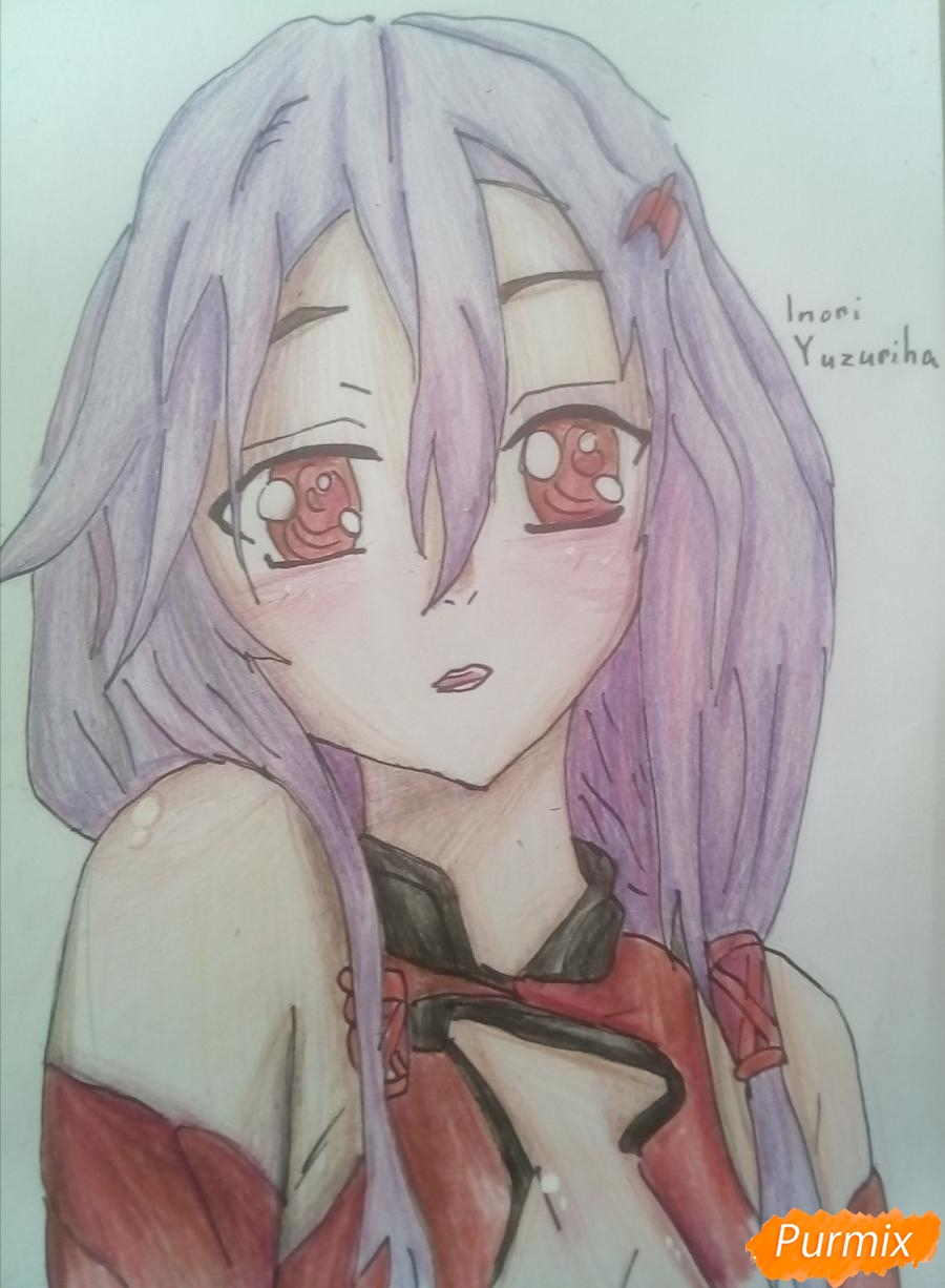 Рисуем портрет Инори Юдзуриха цветными карандашами - шаг 7