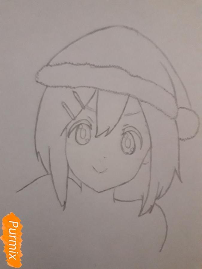 Рисуем Ию Хирасаву в новогоднем стиле - шаг 3