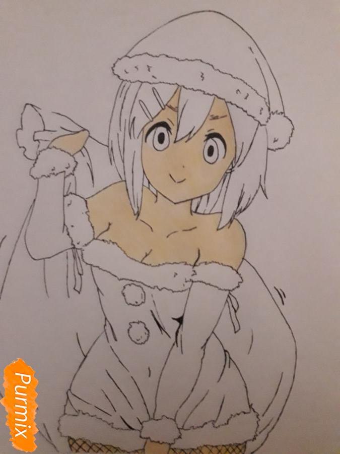 Рисуем Ию Хирасаву в новогоднем стиле - шаг 8
